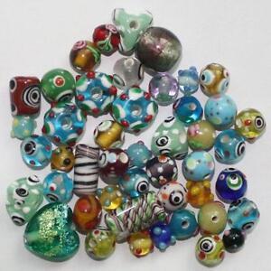 50pcs-HANDMADE-lampwork-glass-beads-mixed-bag-6-15mm-L