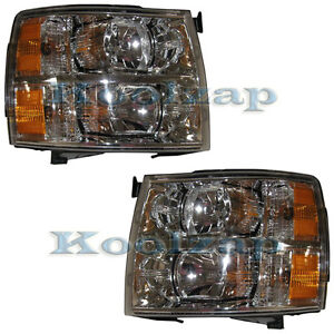 07 08 09 Chevy Silverado Truck Headlight Headlamp Pair