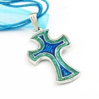Women Fashion Cross Necklace Earring Set-Blue--NEW!