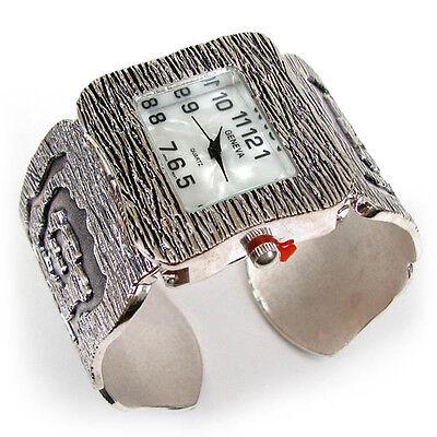 Silver Black Art Jewelry Women's Bangle Cuff Bracelet Watch