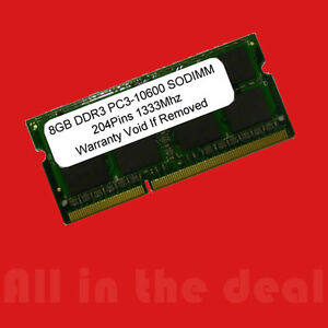 8GB DDR3 SODIMM 204PIN 1333MHz PC3-10600 LAPTOP Apple HP IBM 1333 8 GB
