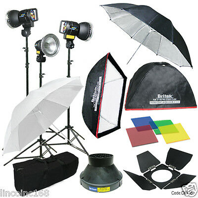 3 Studio Photo Flash Strobe Light Stand Kit w/ Softbox Umbrella Lighting  on Rummage