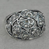 Diamante Fancy Tibet Silver Cocktail #8 Ring--BRAND NEW!!
