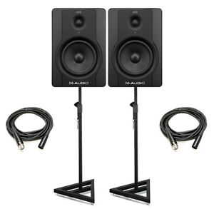 M-Audio-BX5-D2-5-Active-Powered-Studio-Monitors-Pair-w-Stands-Cables