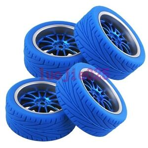 RC 1:10 On Road Car Rubber Sponge Insert Tires Tyres & Wheel Rim 9049-8012