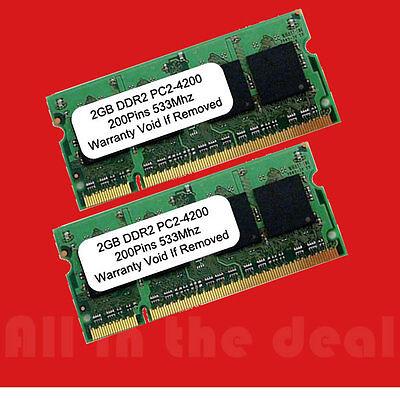 4gb Kit 2x 2gb Pc2-4200 533 Mhz Ddr2 Ram Pc4200 Sodimm 20...