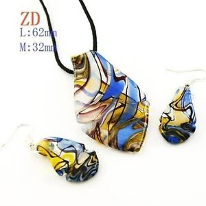 Murano Lampwork Glass Leaf Beads Necklace and Earrings-NEW!!