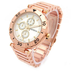 ROSE-GOLD-Geneva-Bracelet-3D-Designer-Style-Womens-Boyfriend-WATCH