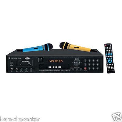 Martin Ranger DVD880 Karaoke Player HDMI USB SD CDG MP3G Recording 2 Microphones