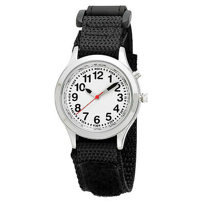 Kids Talking Alarm Watch: Black Strap - Low Vision, Date, Loud, One Button, Easy
