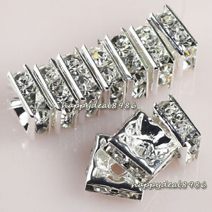 Gorgeous-50pcs-8x8mm-silver-square-rhinestone-crystal-spacer-beads-Grade-A