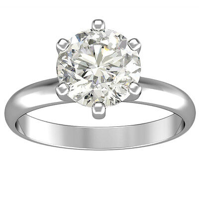 1.25 CT 14k White Gold Round Cut Diamond Engagement Solitaire Ring  on Rummage