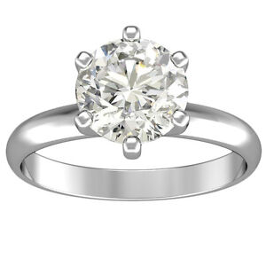 1.25 CT 14k White Gold Round Cut Diamond Engagement Solitaire Ring