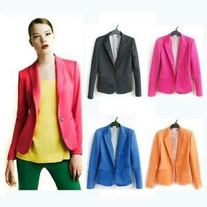 Free-shipping-Candy-Color-Womens-One-Button-Lapel-Casual-Suits-Blazer-Jacket