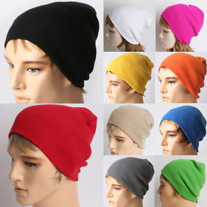 Unisex-Men-Women-Solid-Color-Warm-Plain-Acrylic-Knit-Ski-Beanie-Skull-Hat