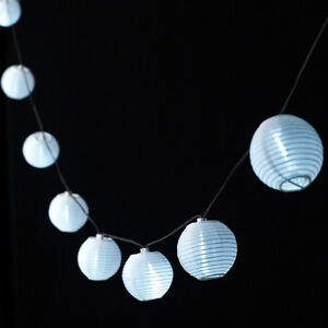 10er LED Solar Lampion Lichterkette weiß, Solar Party Lichterkette