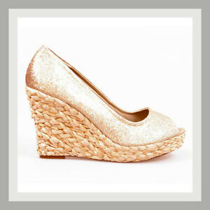 DESIGNER-SHOES-GLITTERY-GOLD-PEEP-TOE-STRAW-PLATFORM-WEDGE-HEEL-PUMPS