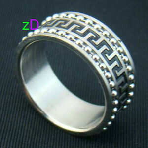 man stainless steel Double chains carve Ring sz10--NEW!!