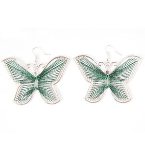 Green Butterfly Silk Thread Earrings!-NEW!