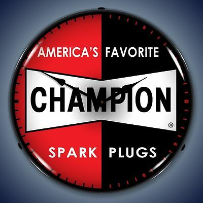 NEW CHAMPION SPARK PLUGS ADVERTISING BACKLIT LIGHTED RETRO CLOCK - FREE SHIPPING