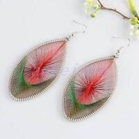 Teardrop Red Green Silk Thread Wire Wrap Hook Earrings--NEW!!