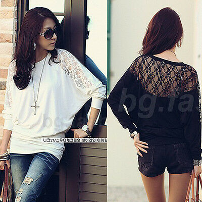 Womens Loose Batwing Top Dolman Long Sleeve Lace T-Shirt Blouse Black&White S-M