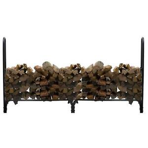 NEW Outdoor Log Holder w Cover Black Store Firewood Wood