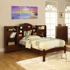solid wood cherry finish bed frame set w bookcase