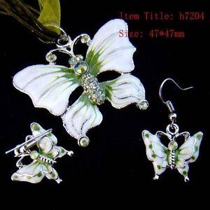 Butterfly Gemstone Rhinestone Necklace Pendant Earring set-NEW!