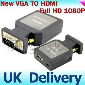 1080P HD Mini VGA to HDMI + 3.5mm Audio Video Converter Adapter PC Box DLP HDTV