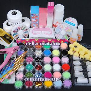 36-Acrylic-Powder-Liquid-Clipper-Brush-UV-Gel-Primer-Glitter-Nail-Art-Tips-Kit