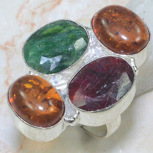 CHERRY RUBY+EMERALD+AMBER RING SIZE 7/8
