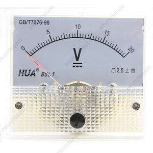 1×DC 20V Analog Panel Volt Voltage Meter Voltmeter Gauge 85C1 White 0-20V DC