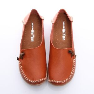 BN Womens Leather Comfort Casual Walking Bowed Flat Shoes Loafers Moccasin Slide