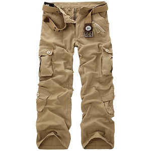 HOT!MEN'S CASUAL MILITARY ARMY CARGO CAMO COMBAT WORK PANTS TROUSERS 5 COLORS