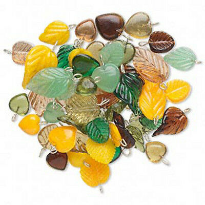 Glass Heart & Leaf Pendant Charms Drops Fall Mix Jewelry Lot of 50
