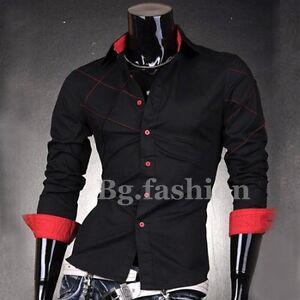 CHIC-Mens-Designer-Cross-Line-Slim-Fits-Dress-Shirts-Tops-Western-Casual-Shirts