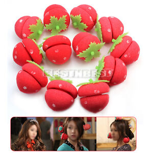 12x Strawberry Balls Hair Care Soft Sponge Roll Rollers Curlers Lovely DIY Tool