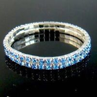 2 rows blue Crystal rhinestone Bracelet --NEW!!