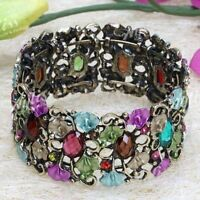 Mix Colour Crystal Vintage Hollow Bracelet Bangle Cuff--NEW!!