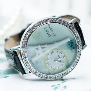 Crystal Bling Bezel Women Casual Wrist Watch Eiffel Tower Style Fashion