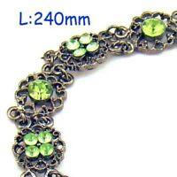 Charm Silver Plate Gemstone Flower Chain Bracelet--NEW!!