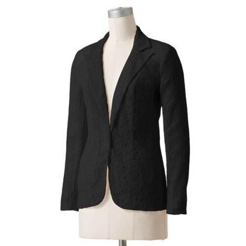 Lauren Conrad Black Button Front Lace Blazer Size 2;nwt
