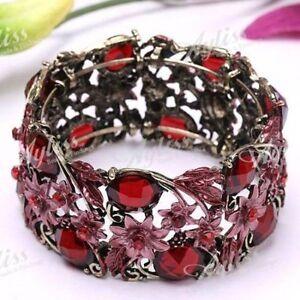 Rhinestone Resin Flower Bracelet Bangle Cuff ---red---NEW!!!