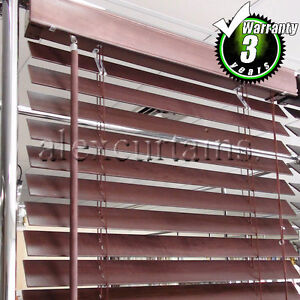 Wooden Venetian Blinds, Size: 180x210cm, 50mm Slat, Colour: Mahogany