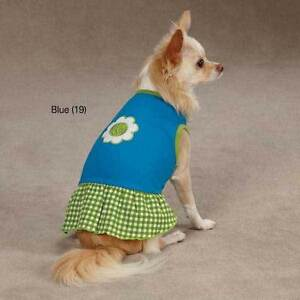 Gingham Sweeties Dog Dress FLOWER PINK GREEN BLUE Size:Miscellaneous