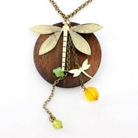 Gold-tone Dragonfly/Wooden Plate/Beads Necklace--NEW!!