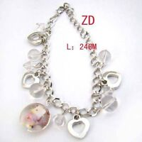 Glass Crystal Bead Heart Dangle Link Bracelet--NEW!