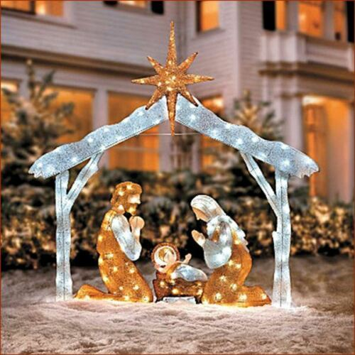 Twinkling lighted tinsel nativity scene christmas outdoor yard display