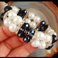 "Black Aqua Crystal Pearl Bracelet 7"""